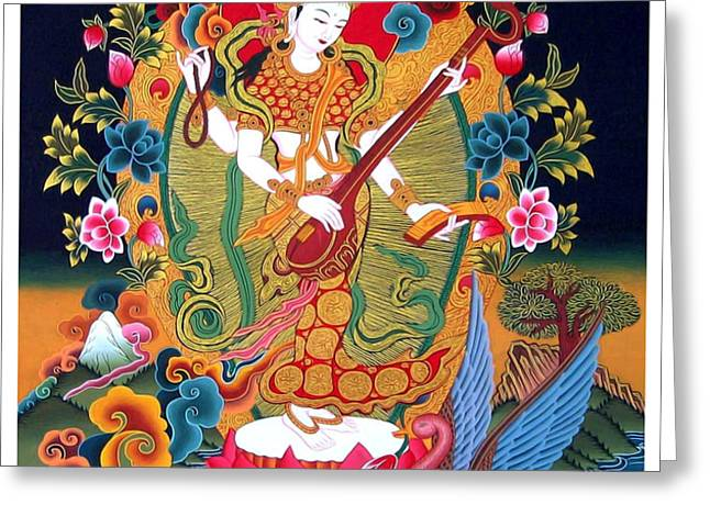 Saraswati 3 Greeting Card by Lanjee Chee