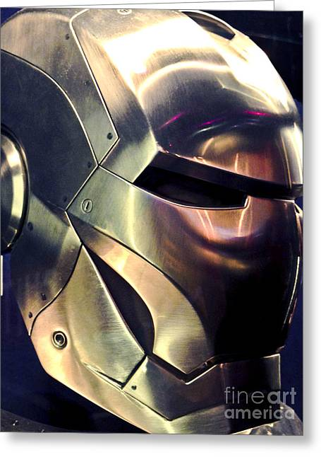 Movie Prop Photographs Greeting Cards -  Screen worn Iron Man Helmet 11 Greeting Card by Micah May