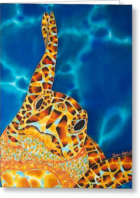 Caribbean Sea Tapestries - Textiles Greeting Cards -  Sea Turtle Greeting Card by Daniel Jean-Baptiste