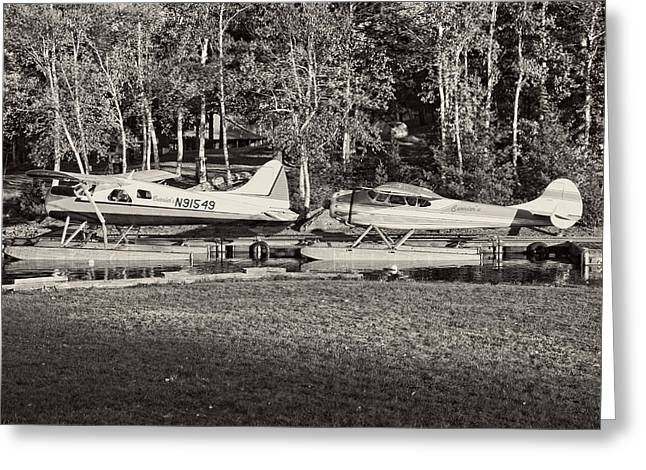 Seaplane Greeting Cards -  Seaplanes on Moosehead Lake in Maine Greeting Card by Keith Webber Jr