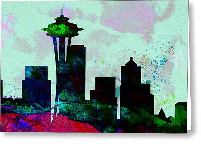 Seattle Skyline Greeting Cards -  Seattle City Skyline Greeting Card by Naxart Studio