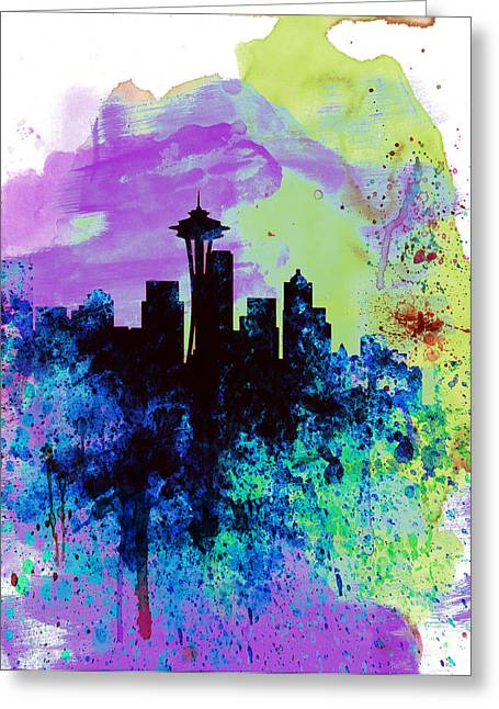 Seattle Skyline Greeting Cards -  Seattle Watercolor Skyline 1 Greeting Card by Naxart Studio