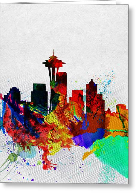 Architectural Landscape Greeting Cards -  Seattle Watercolor Skyline 2 Greeting Card by Naxart Studio