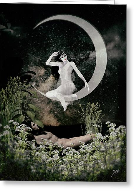 Luna Digital Art Greeting Cards -  Selene and Endymion. Greeting Card by Joaquin Abella