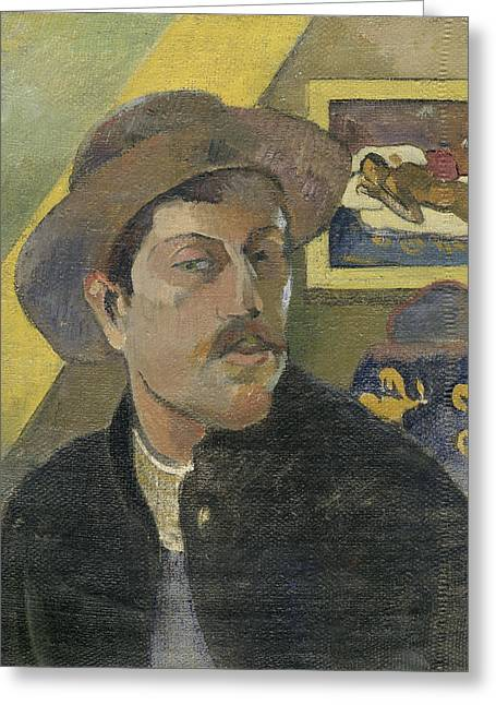 Hat; Post-impressionist; Tropical; Tahitian; Women; Sitting; Talking; Les Potins Greeting Cards -  Self-portrait with a hat Greeting Card by Paul Gauguin