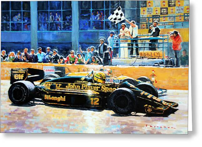 Classic Lotus Greeting Cards -  Senna vs Mansell F1 Spanish GP 1986 Greeting Card by Yuriy Shevchuk
