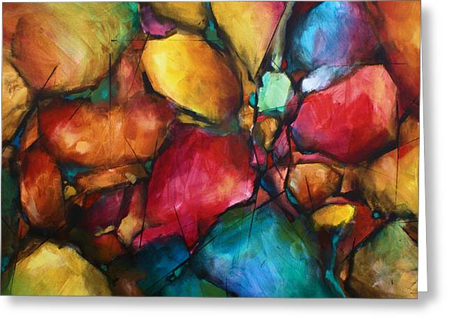 Abstract Expressionist Greeting Cards -  Setting Greeting Card by Michael Lang