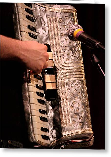Gypsy Band Greeting Cards -  She is a pretty Accordion Greeting Card by Kym Backland