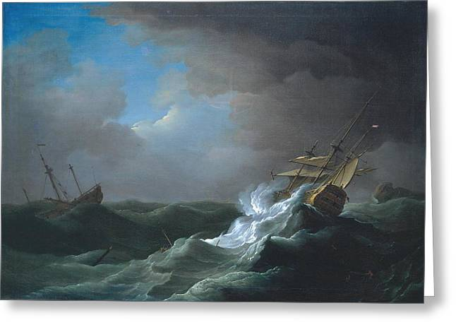 Ships In Distress In A Storm Greeting Card by MotionAge Designs