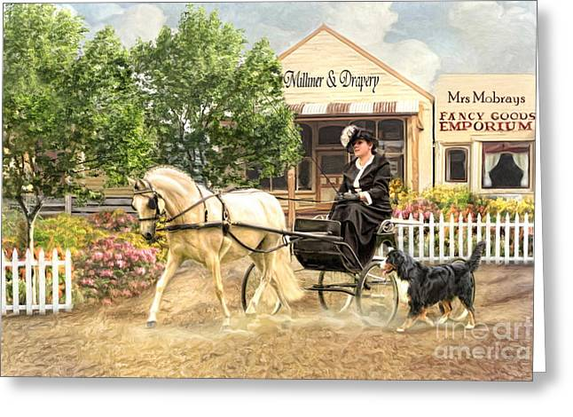 Horse And Cart Greeting Cards -  Shopping Day Greeting Card by Trudi Simmonds