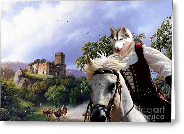 Husky Art Greeting Cards -  Siberian Husky Art Canvas Prin Greeting Card by Sandra Sij