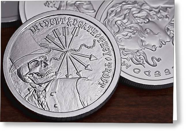 Invest Greeting Cards -  Silver Bullion Debt and Death Greeting Card by Tom Mc Nemar