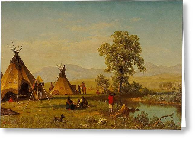 Landscape Painter Greeting Cards -  	Sioux Village near Fort Laramie Greeting Card by Albert Bierstadt