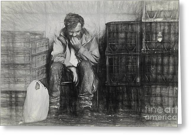 Sketch Of Man Amongst Crates Greeting Card by Avalon Fine Art Photography