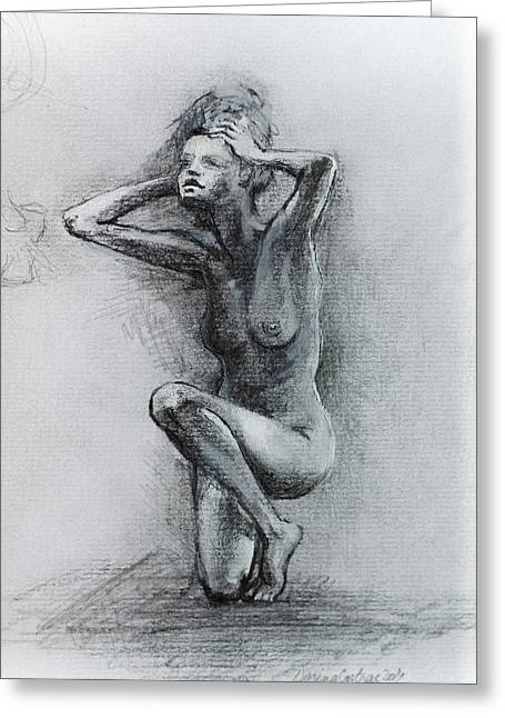 Drawn Greeting Cards -  Sketch Of Nude Woman Greeting Card by Dorina  Costras