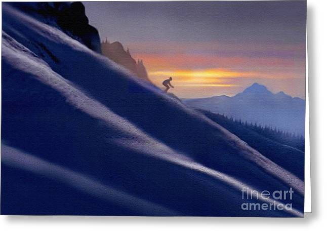 Slide Prints Digital Greeting Cards -  Ski Slopes Greeting Card by Robert Foster