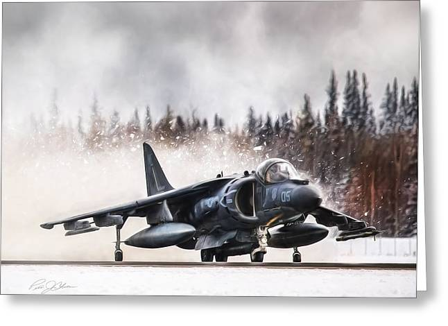 Jet Airplane Greeting Cards -  Snow Angel Harrier Greeting Card by Peter Chilelli
