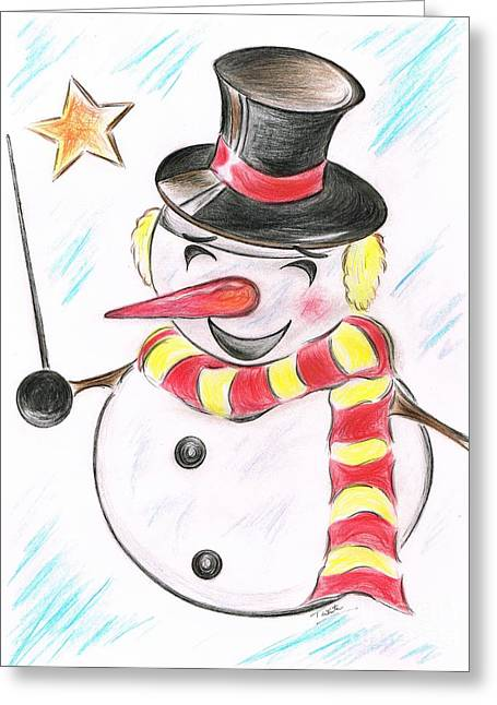 Evening Wear Mixed Media Greeting Cards -  Snowmans  Stardom Greeting Card by Teresa White