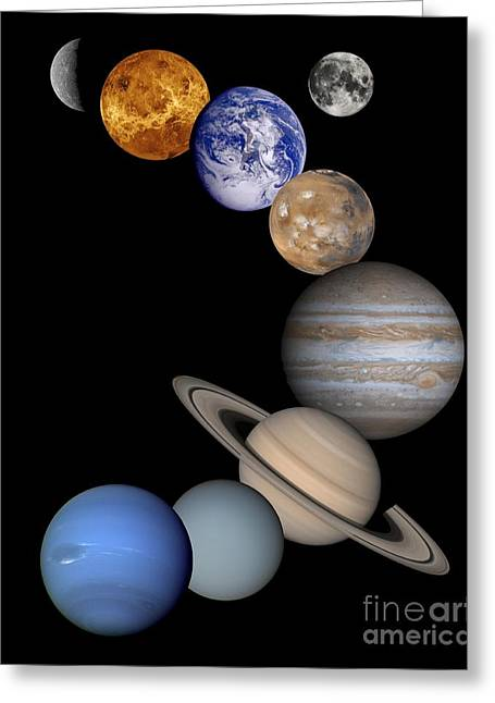 Spheres Greeting Cards -  Solar System Montage Greeting Card by Anonymous