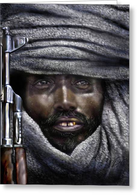 Pirates Paintings Greeting Cards -  Somalia - How I Live  Greeting Card by Reggie Duffie