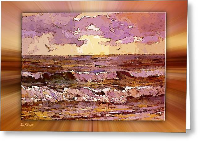 Himmel Digital Art Greeting Cards -  Sonnenuntergang Ueber Dem Watt Greeting Card by Eckhard Roeder