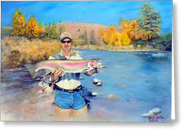 Rainbow Trout Greeting Cards -  Speedys prize Greeting Card by Michael Slivka