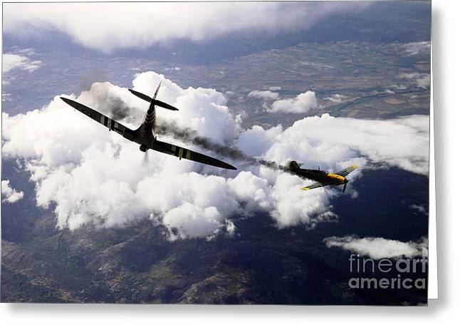 Second Day Of Battle Greeting Cards -  Spitfire Kill Greeting Card by J Biggadike
