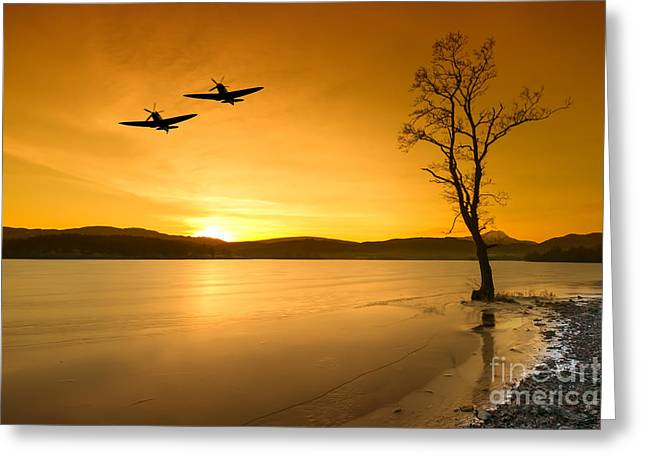 Spitfire Greeting Cards -  Spitfire Sunset Sortie Greeting Card by J Biggadike