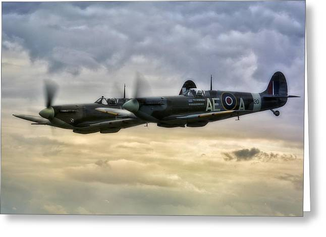 Spitfire Greeting Cards -  Spitfires Double trouble Greeting Card by Jason Green