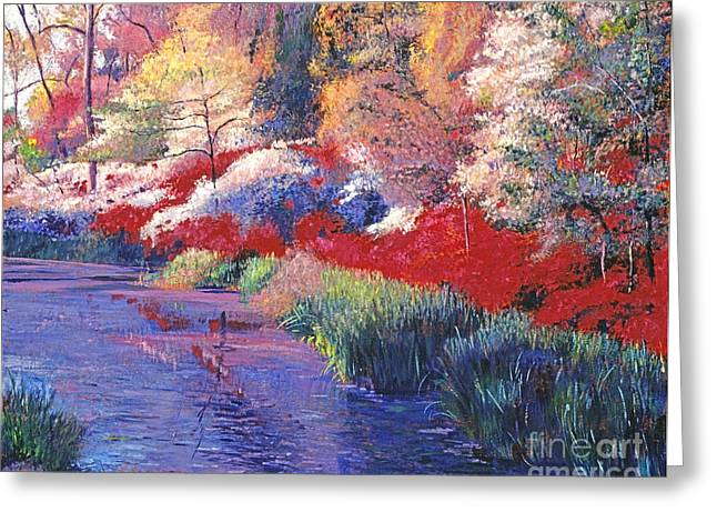 Gardenscapes Greeting Cards -  Spring Azalea Reflections Greeting Card by David Lloyd Glover