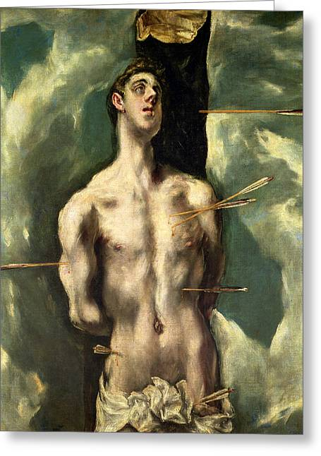 Old Masters Paintings Greeting Cards -  St Sebastian Greeting Card by El Greco Domenico Theotocopuli