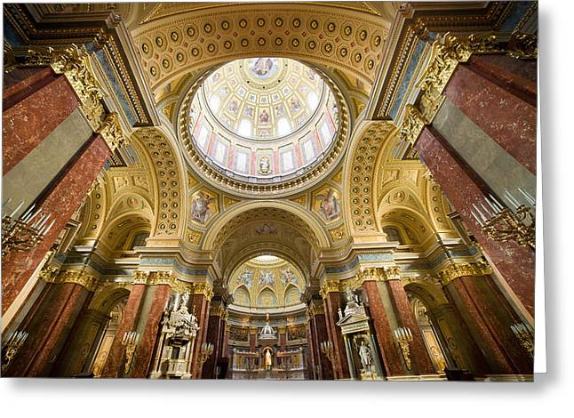 Cupola Greeting Cards -  St Stephen Basilica Interior in Budapest Greeting Card by Artur Bogacki