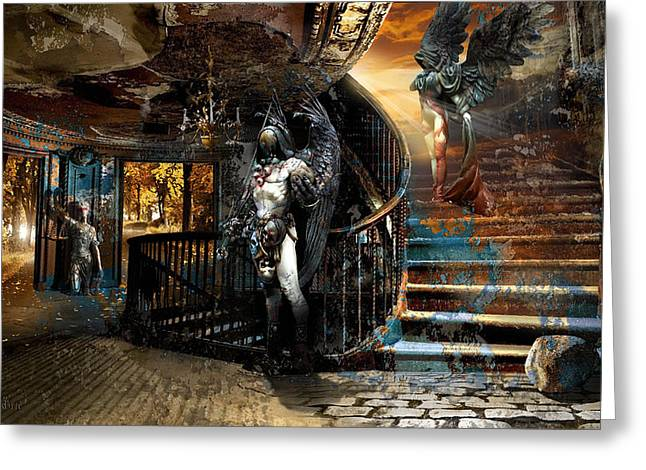 Stairway To Heaven Vs. Stairwell To Hell Greeting Card by George Grie