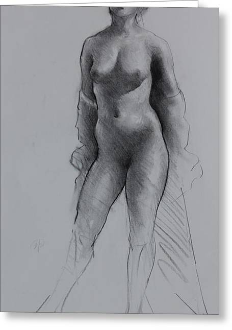 Art Exhibit Greeting Cards -  Standing Nude Greeting Card by Ernest Principato