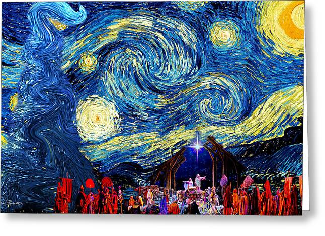 Night Scenes Greeting Cards -  Starry Night in Bethlehem Greeting Card by Sylvia Thornton