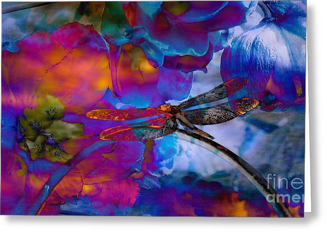 Floral Digital Art Greeting Cards -  Stunning  photographic Art Dragonfly Greeting Card by Beverly Guilliams
