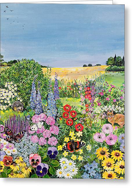 Foxglove Flowers Paintings Greeting Cards -  Summer from The Four Seasons Greeting Card by Hilary Jones
