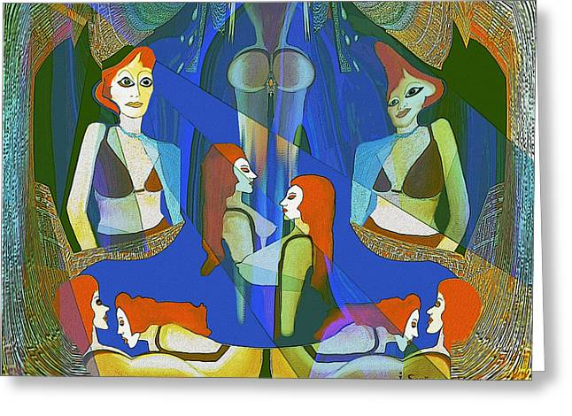 Harem Girl Greeting Cards -  Summer night meeting  - 124 Greeting Card by Irmgard Schoendorf Welch