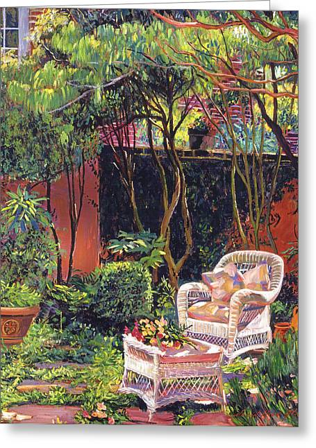 Sunny Summer Patio Greeting Card by David Lloyd Glover