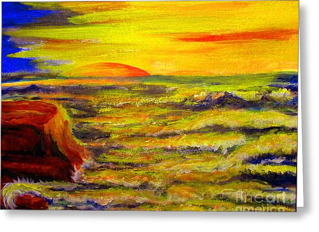 Nancy Rucker Greeting Cards -  Sunset Over Sea Greeting Card by Nancy Rucker