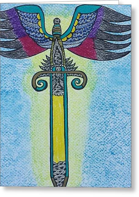 Archangel Drawings Greeting Cards -  Sword of Archangel Michael Greeting Card by Shaloo Webster