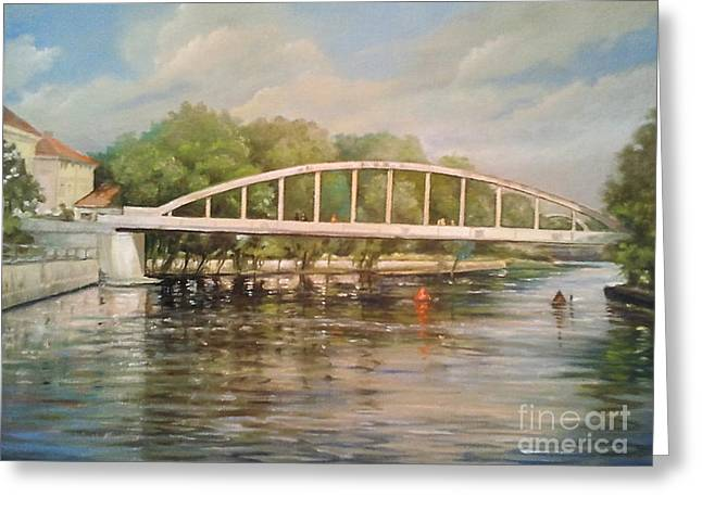 Architectur Paintings Greeting Cards -  Tartu arch bridge Greeting Card by Ahto Laadoga