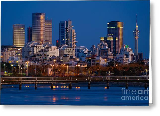 Miztvah Greeting Cards -  Tel Aviv blue hour skyline  Greeting Card by Ronsho