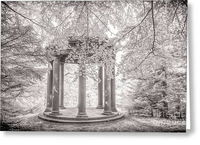 Infrared Greeting Cards -  Temple of Fame Fountains Abbey Greeting Card by Janet Burdon