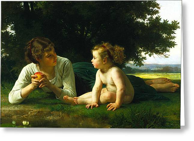 Academic Nudes Greeting Cards -  Temptation Greeting Card by William-Adolphe Bouguereau