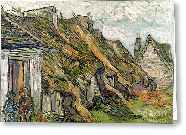 Repaired Paintings Greeting Cards -  Thatched Cottages in Chaponval Greeting Card by Vincent van Gogh