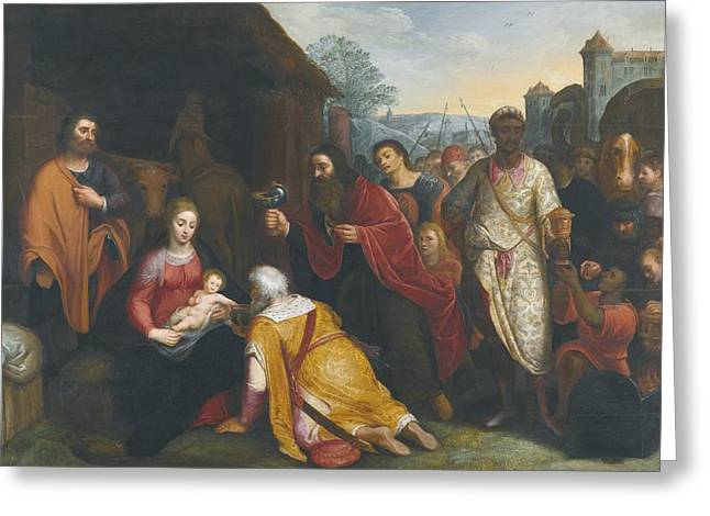 Flemish School; (17th Century) Greeting Cards -  The Adoration Of The Magi Greeting Card by Flemish School