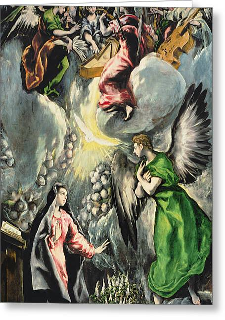 Doves Paintings Greeting Cards -  The Annunciation Greeting Card by El Greco Domenico Theotocopuli