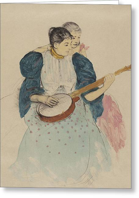 Cassatt Greeting Cards -  The Banjo Lesson Greeting Card by Celestial Images