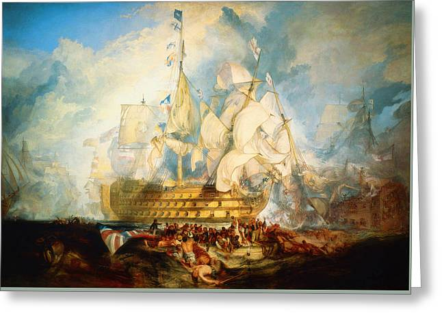 Nature Scene Paintings Greeting Cards -  The Battle of Trafalgar Greeting Card by Celestial Images